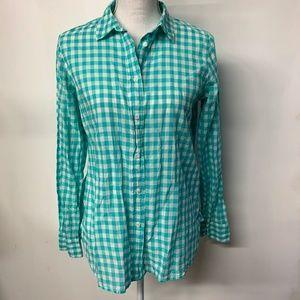 J Crew Green & White Gingham Plaid Boy Shirt